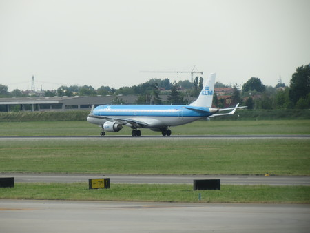 landed: BOLOGNA, ITALY - CIRCA MAY 2014: KLM Aircraft just landed