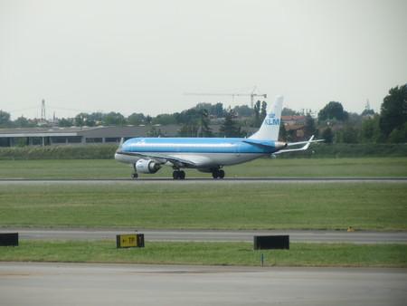 klm: BOLOGNA, ITALY - CIRCA MAY 2014: KLM Aircraft just landed