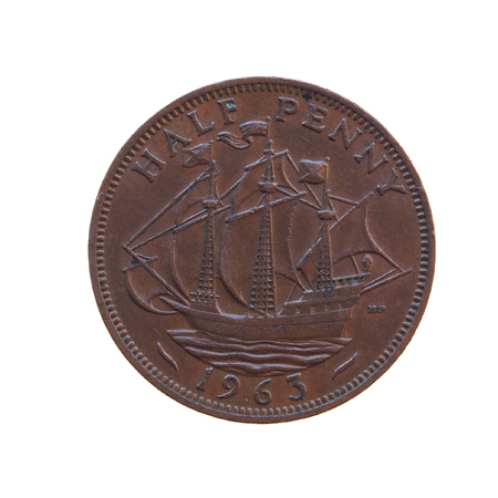 gbp: Half penny coin (GBP) released in 1963
