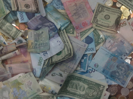 Notes of different currencies of the world (Euro, Yan, Dollars) Standard-Bild