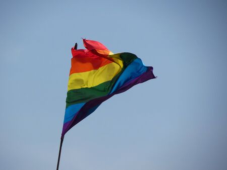 transgender: Gay, lesbian, bisexual, transgender pride flag floating in the air