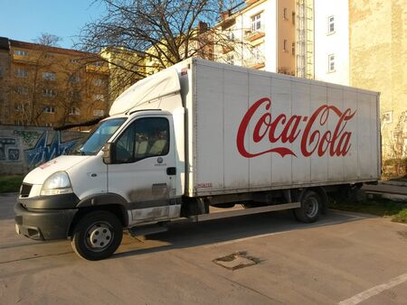 coke bottle: PRAGUE, CZECH REPUBLIC - CIRCA FEBRUARY 2016: Coca Cola van for delivering coke bottles and cans to stores Editorial