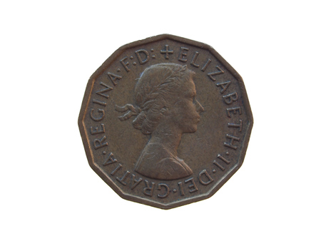 pence: LONDON, UK - CIRCA DECEMBER 2013: six pence coin (GBP) released in 1963