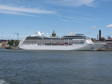 ms: HELSINKI, FINLAND - CIRCA JUNE 2012: MS Nautica cruiseferry ship of the Oceania Cruises moored at the harbour