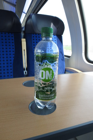 carbonic: HALLE (SAALE), GERMANY - CIRCA MARCH 2016: ON Express - Quellwasser mit Kohlensaures (meaning mineral water with carbonic acid)