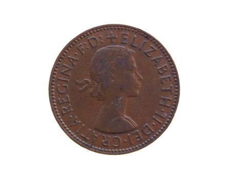 released: LONDON, UK - CIRCA DECEMBER 2013: Half penny coin (GBP) released in 1963 Editorial