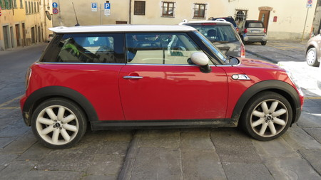 onwards: AREZZO, ITALY - CIRCA APRIL 2016: red Mini Cooper car with white roof