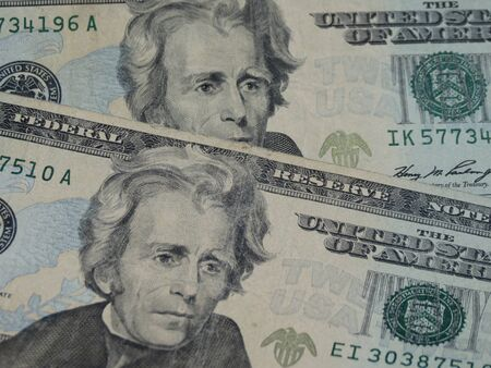 andrew: US dollar banknotes - twenty-dollar bill featuring President Andrew Jackson (1829-1837) on the front side