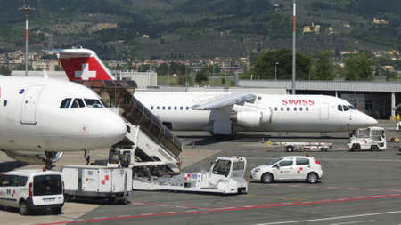 airways: FLORENCE, ITALY - CIRCA APRIL 2016: Swiss airways aircraft parked at the airport ready for boarding