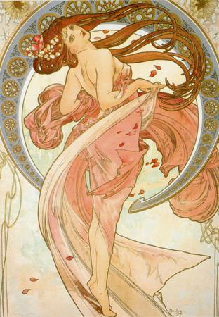 PRAGUE, CZECH REPUBLIC - CIRCA JULY 2011 - Alphonse Mucha's Dance drawing, released in Prague, circa 1898 Sajtókép
