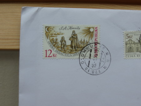 ceska: PRAGUE, CZECH REPUBLIC - CIRCA FEBRUARY 2014: letter envelope with mail stamps