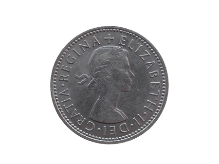 gbp: LONDON, UK - CIRCA DECEMBER 2013: six pence coin (GBP) released in 1963
