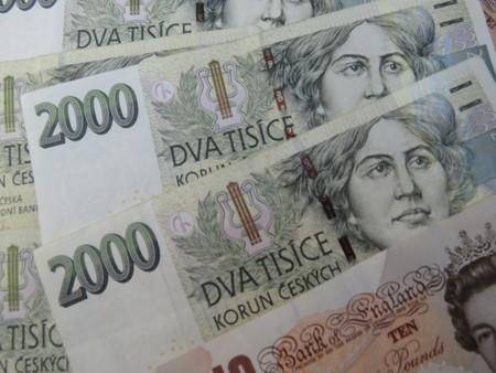 tender: Czech korunas CZK (legal tender of the Czech Republic) banknotes