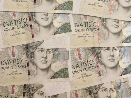 koruna: 2000 Czech koruna CZK (legal tender of the Czech Republic) banknotes
