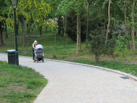 ceska: BRNO, CZECH REPUBLIC - CIRCA MAY 2016: unidentified young mother pushing baby carriage on a slope Editorial