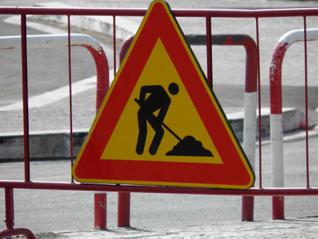 works: Warning signs, Road works traffic sign Stock Photo