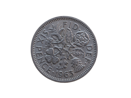 pence: Six pence coin (GBP) released in 1963