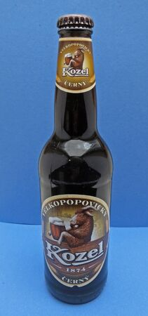 stout: PRAGUE, CZECH REPUBLIC - CIRCAMAY 2016: Kozel cerny (meaninig stout) beer bootle