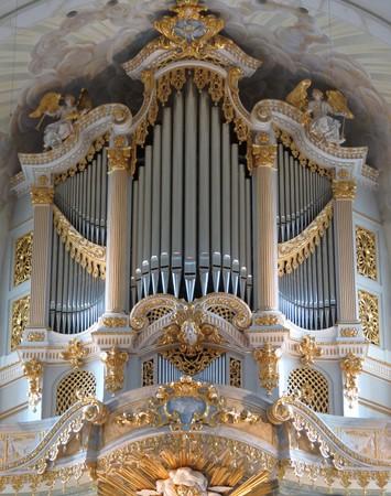 pipe organ: DRESDEN, GERMANY - CIRCA MARCH 2016: pipe organ replica in the Fraukirche (Saint Mary church), the original Silbermann organ being destroyed in 1945 Editorial