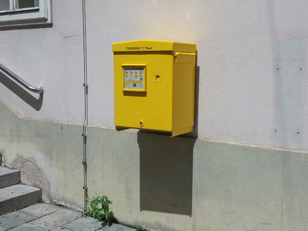 outgoing: VIENNA, AUSTRIA - CIRCA JUNE 2016: Letter box mailbox for sending outgoing mail