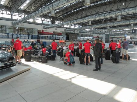 ceska: PRAGUE, CZECH REPUBLIC - CIRCA JULY 2016: unidentified Czech Republic national sport team at Vaclav Havel international airport Editorial