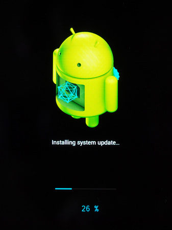 os: MOUNTAIN VIEW, USA - CIRCA AUGUST 2016: Android OS installing system update on a smartphone mobile device Editorial