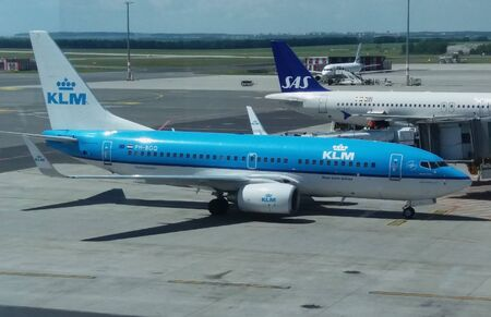 ceska: PRAGUE, CZECH REPUBLIC - CIRCA JUNE 2016: Boeing 737-7K2 of the KLM Royal Dutch Airlines aircraft at the airport