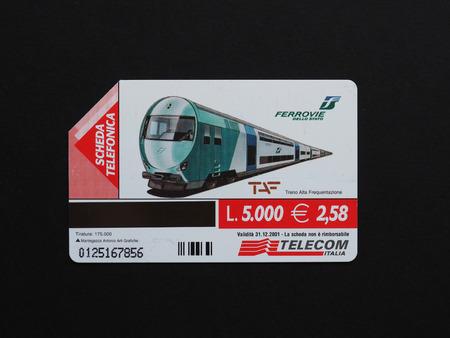 italia: ROME, ITALY - CIRCA AUGUST 2016: Telecom Italia telephone card with train locomotive