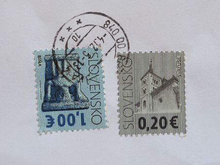 tradional: BRATISLAVA, SLOVAKIA - CIRCA AUGUST 2016: stamps printed by Slovakia showing Slovak tradional architecture and art Editorial