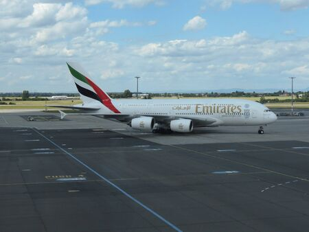 biggest: PRAGUE, CZECH REPUBLIC - CIRCA JULY 2016: World biggest passenger aircraft Airbus A380 of the Emirates airlines at Vaclav Havel international airport