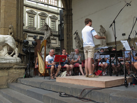fagot: FLORENCE, ITALY - CIRCA JULY 2016: orchestra playing live for free on the main city square