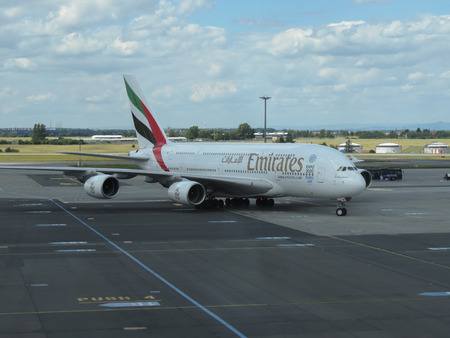 ceska: PRAGUE, CZECH REPUBLIC - CIRCA JULY 2016: World biggest passenger aircraft Airbus A380 of the Emirates airlines at Vaclav Havel international airport