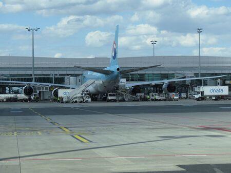 republika: PRAGUE, CZECH REPUBLIC - CIRCA JULY 2016: World 2nd biggest passenger aircraft Boeing 747 Jumbo of the Korean Air at Vaclav Havel international airport
