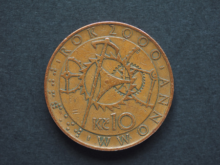ceska: 10 Czech Koruna (CZK) coin, currency of Czech Republic (CZ), special 2000 issue showing clockwork mechanism Stock Photo