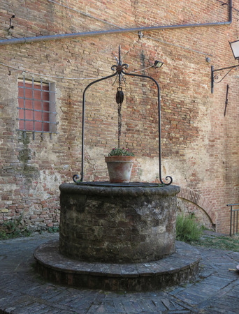 Elegant medieval deep water well for drinking water