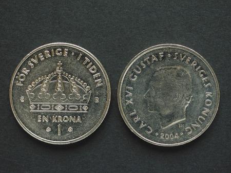 1 Swedish Krona (SEK) coin, currency of Sweden (SE) Stock Photo