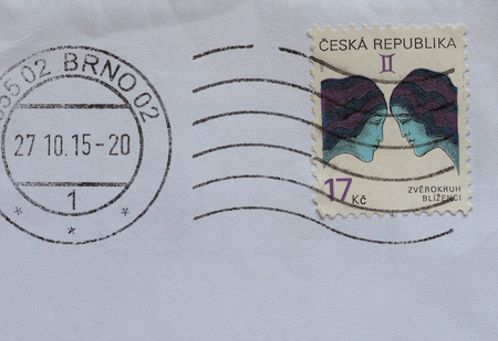 ceska: PRAGUE, CZECH REPUBLIC - CIRCA AUGUST 2016: A stamp printed by Czech Republic showing gemini zodiac sign