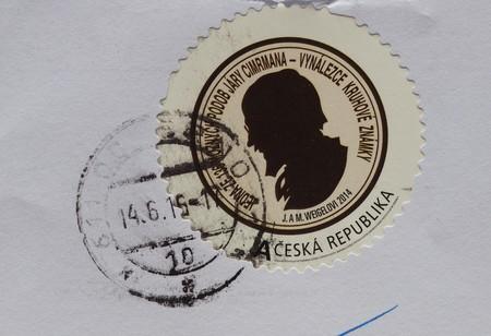 fictional character: PRAGUE, CZECH REPUBLIC - CIRCA AUGUST 2016: A stamp printed by Czech Republic bearing the portrait of Jara Cimrman, a Czech fictional character of a universal genius Editorial