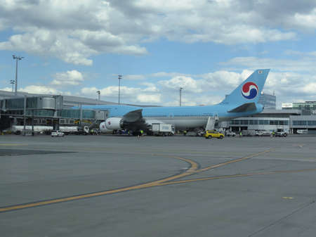 ceska: PRAGUE, CZECH REPUBLIC - CIRCA JULY 2016: World 2nd biggest passenger aircraft Boeing 747 Jumbo of the Korean Air at Vaclav Havel international airport