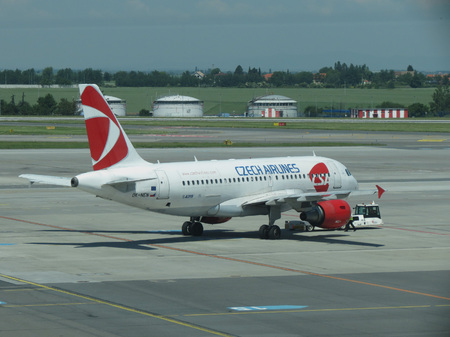 airbus: PRAGUE, CZECH REPUBLIC - CIRCA JUNE 2016: Airbus A319 of the Czech Airlines during taxi