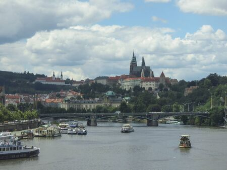 ceska: PRAGUE, CZECH REPUBLIC - CIRCA JULY 2016: city centre with river, cathedral and castle Editorial