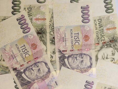 koruna: 1000 and 2000 Czech koruna CZK (legal tender of the Czech Republic) banknotes Stock Photo