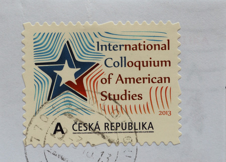 colloquium: PRAGUE, CZECH REPUBLIC - CIRCA AUGUST 2016: A stamp printed by Czech Republic celebrating the International Colloquium of American Studies