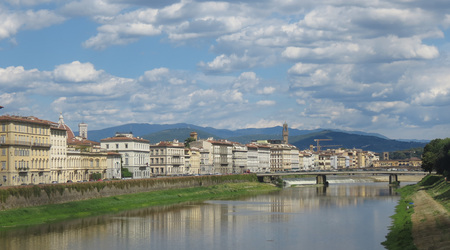 Waterfront houses over river Arno in Florence, Italy Stock Photo
