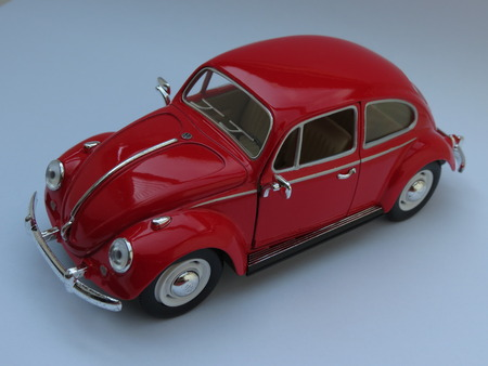 WOLFSBURG, GERMANY - CIRCA APRIL 2015: Miniature Representation of Volkswagen Type-1 aka Classical Beetle from 1967, produced as a childrens toy in China, circa 2008 Editorial