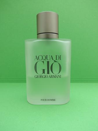 eau de perfume: MILAN, ITALY - CIRCA MAY 2016: Giorgio Armani, Acqua di Gio fragrance for men is one of the evergreen bestselling perfumes worldwide