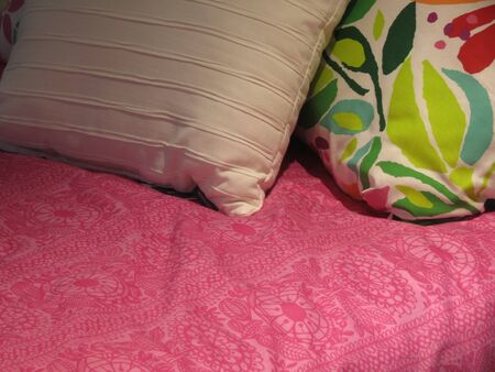 Bed with pink cover and two pillows