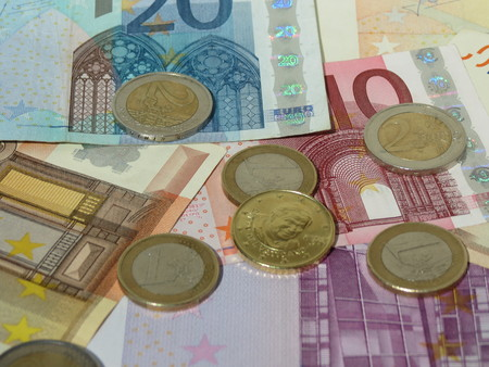 belgie: Euro coins and banknotes currency of the European Union