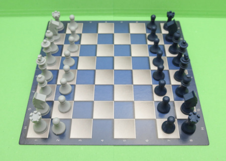 checkers: chessboard with black and white plastic checkers
