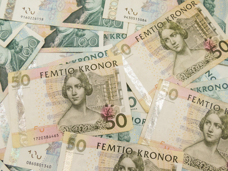 valued: Swedish currency SEK from Sweden useful as a background